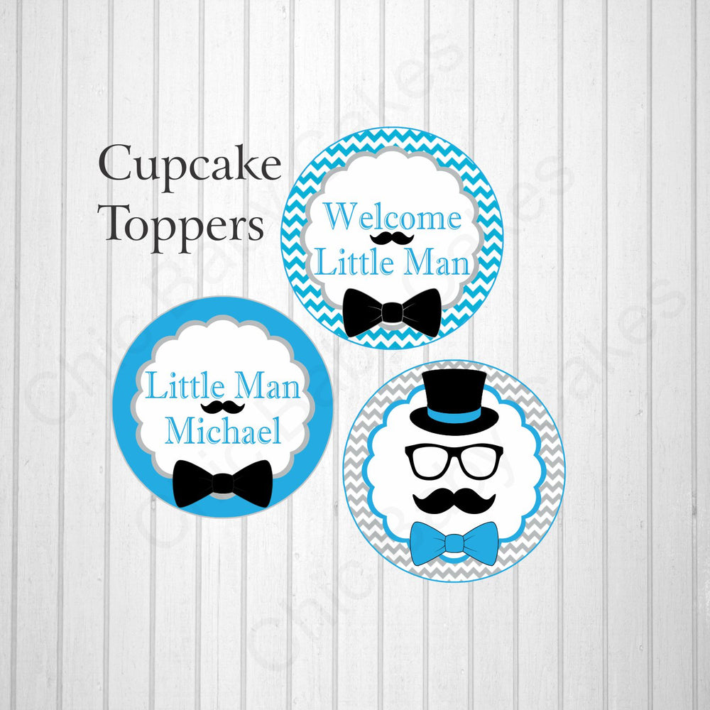 Blue & Gray Little Man Cupcake Toppers