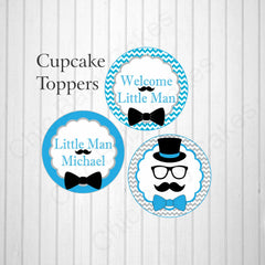 Printable Little Man Cupcake Toppers - Blue, Gray