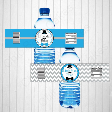 Printable Little Man Water Bottle Labels - Blue, Gray