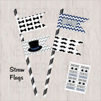 Navy & Gray Little Man Straw Flags