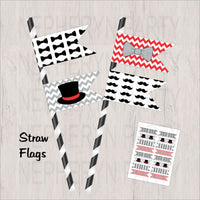 Red, Gray & Black Little Man Straw Flags