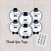 Navy & Gray Little Man Thank You Tags