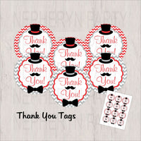 Red, Gray & Black Little Man Thank You Tags