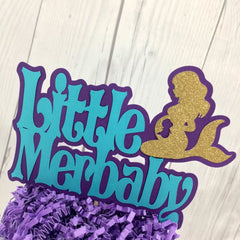Little Merbaby Cake Topper - Purple, Teal