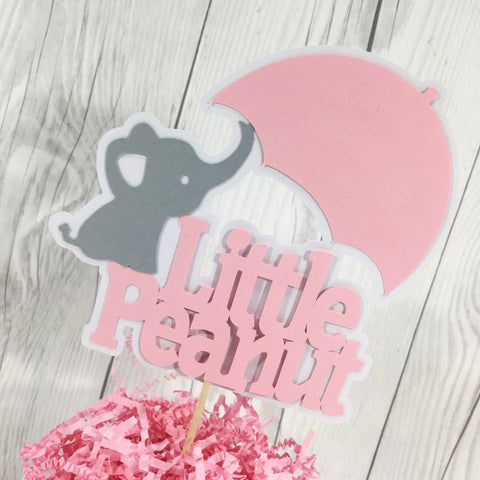Little Peanut Cake Topper - Pink, Gray