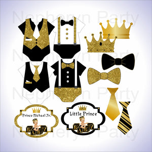 Black & Gold Little Prince Clipart Decorations, Blonde