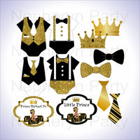 Black & Gold Little Prince Clipart Decorations, Brown