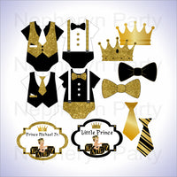 Black & Gold Little Prince Clipart Decorations, Brunette