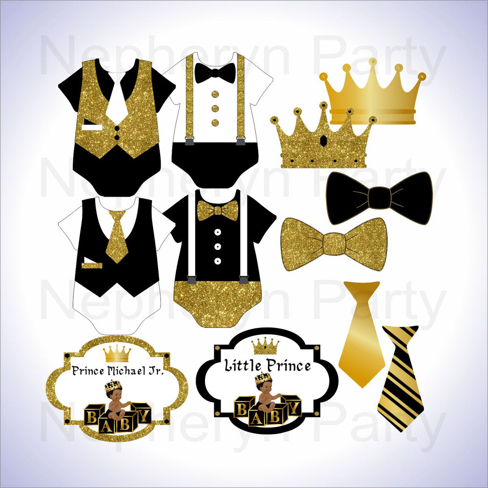 Black & Gold Little Prince Clipart Decorations, Curly