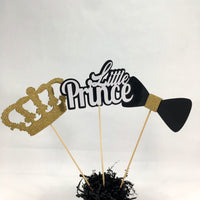 Black & Gold Little Prince Centerpiece Sticks