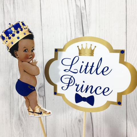 Little Prince Centerpiece Sticks - Blue, Gold, Curly Hair