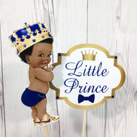 Royal Blue & Gold Little Prince Cake Toppers