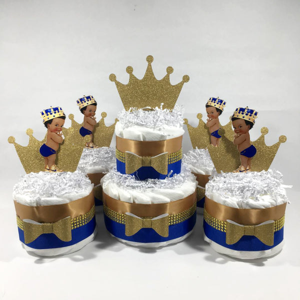 Royal Blue and Gold Little Prince Diaper Cake Centerpiece Set