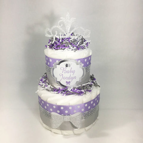 Welcome Little Princess Diaper Cake Centerpiece, Lilac, Silver