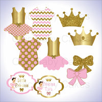 Pink and Gold Little Princess Clipart Decorations, Brunette