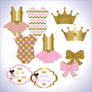 Pink and Gold Little Princess Clipart Decorations, Afro