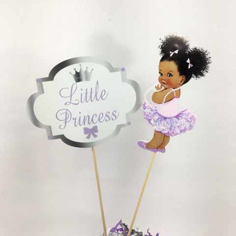 Little Princess Centerpiece Sticks - Purple, Silver, Curly Hair