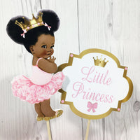 Little Princess Centerpiece Sticks - Pink, Gold, Curly Hair