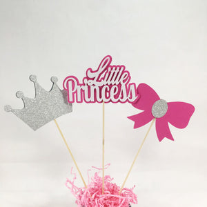 Pink and Silver Little Princess Centerpiece Sticks
