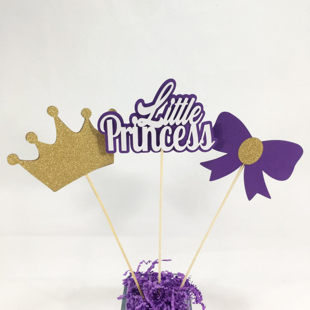 Purple and Gold Little Princess Centerpiece Sticks