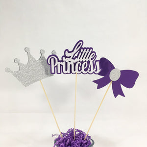 Purple and Silver Little Princess Centerpiece Sticks