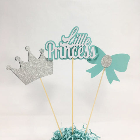 Little Princess Centerpiece Sticks - Aqua, Silver