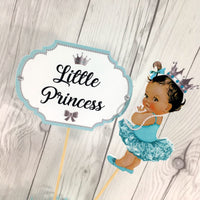 Little Princess Centerpiece Toppers - Teal, Silver