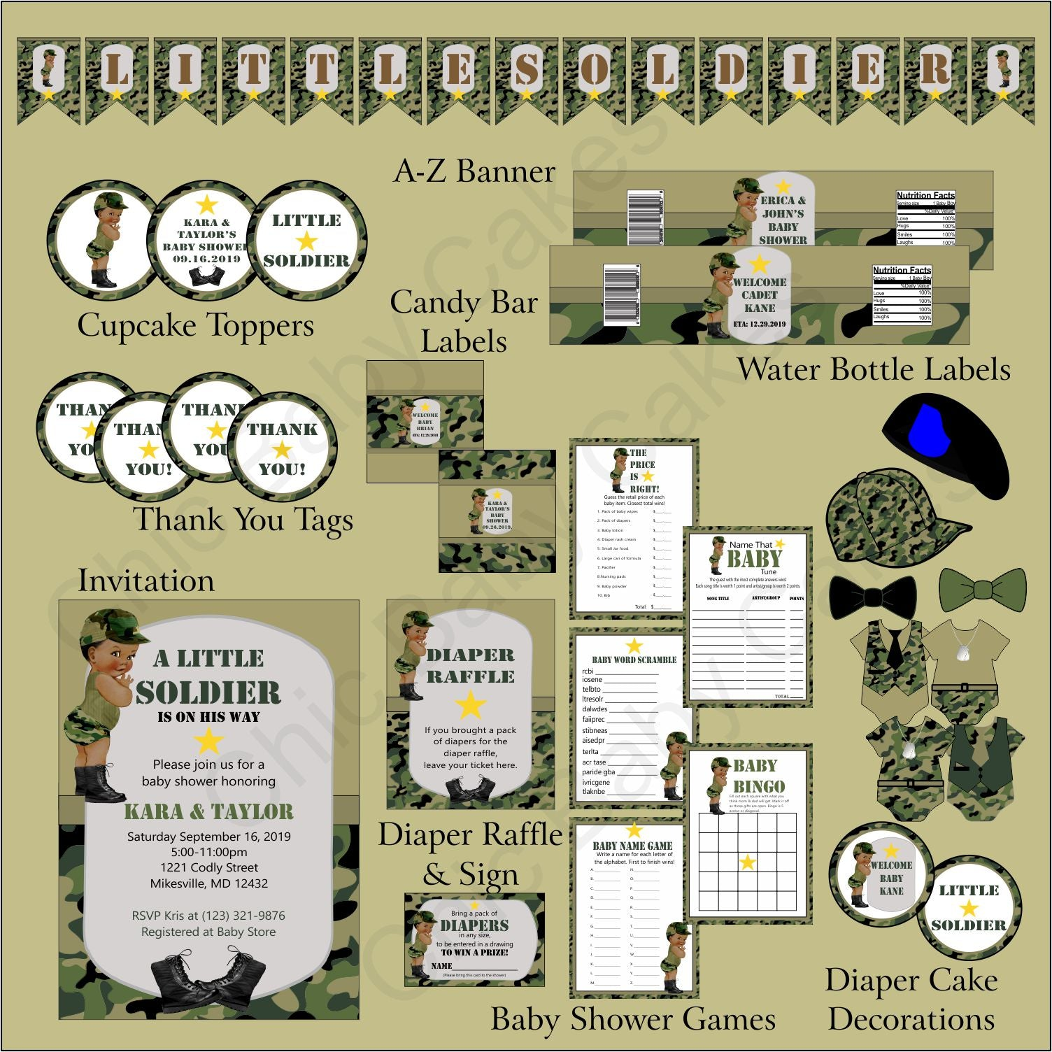 Little Soldier Baby Shower Decoration Pack Green Camo