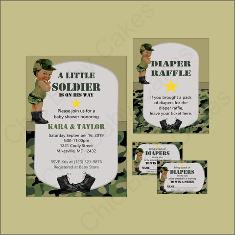 Digital Little Soldier Invite & Diaper Raffle Combo - Camo