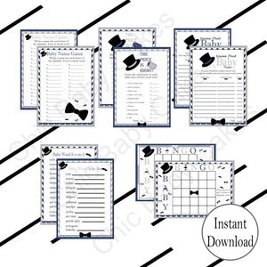 Navy & Gray Little Man Baby Shower Games