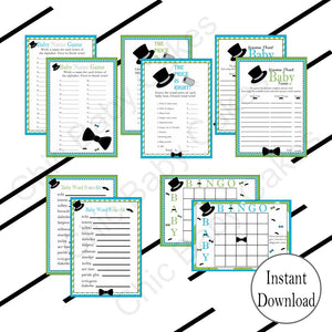 Little Man Baby Shower Games, Turquoise & Lime Green