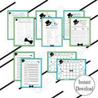 Turquoise & Lime Little Man Baby Shower Games