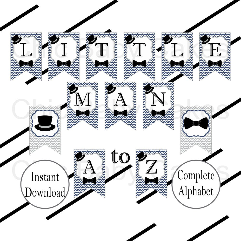 Printable Little Man Baby Shower Banner - Navy & Gray