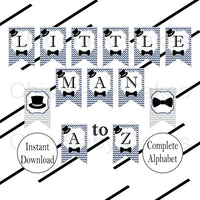 Navy & Gray Little Man Baby Shower Banner