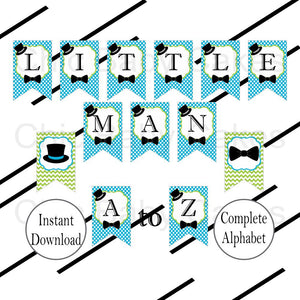 Little Man Banner, Turquoise & Lime Green