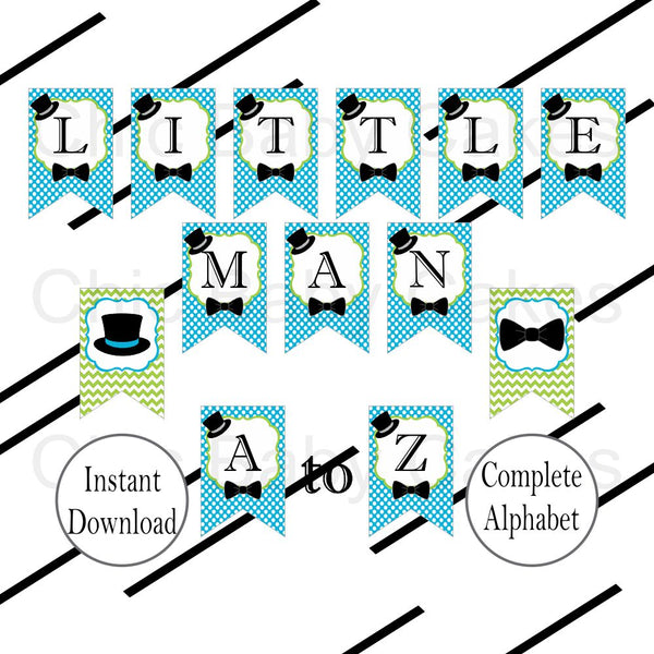 Turquoise & Lime Little Man Alphabet Banner
