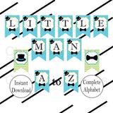Printable Little Man Banner - Turquoise & Lime