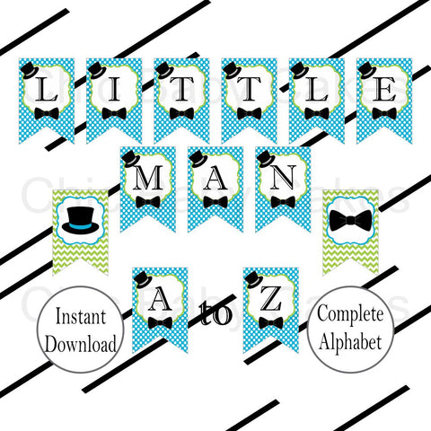 Printable Little Man Banner - Turquoise, Lime