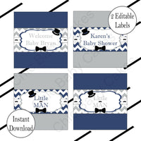 Printable Little Man Decorations Pack - Navy & Gray
