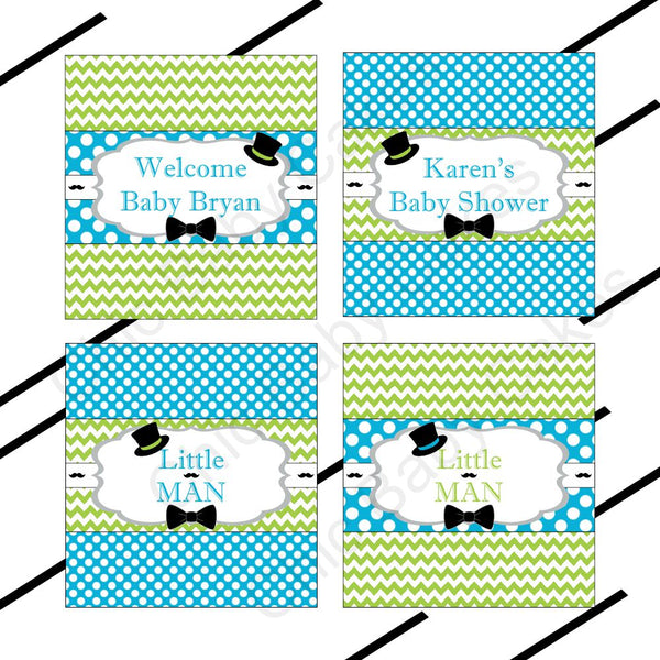 Turquoise & Lime Little Man Candy Bar Wrappers