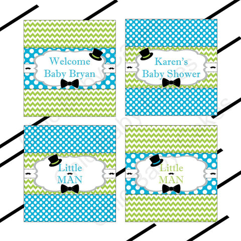 Printable Little Man Candy Bar Labels - Turquoise, Lime