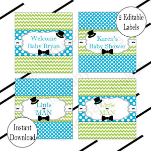 Little Man Candy Bar Wrappers, Turquoise & Lime Green