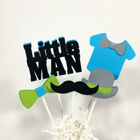 Little Man Centerpiece Sticks - Turquoise & Lime