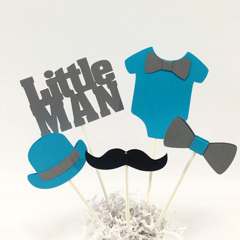 Little Man Centerpiece Sticks - Sky Blue, Gray