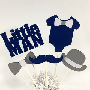 Navy & Gray Little Man Centerpiece Sticks