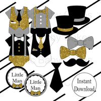 Black, Gray, & Gold Little Man Clipart Decorations