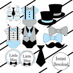 Little Man Diaper Cake Topper Decoration, Light Blue & Gray