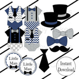 Little Man Diaper Cake Topper Decorations - Navy & Gray