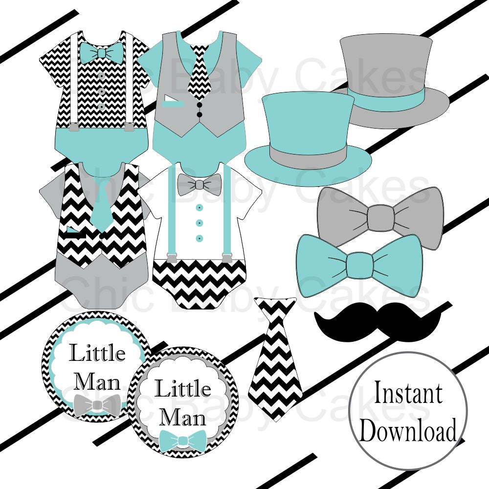 Teal & Gray Little Man Clipart Decorations