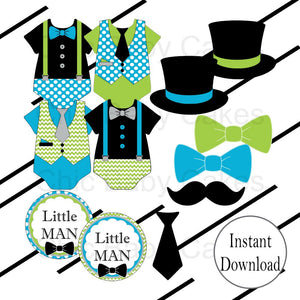 Little Man Clipart, turquoise & Lime Green
